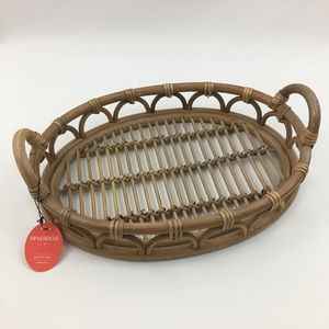 Opalhouse Handcrafted Decorative Brown Rattan Tray